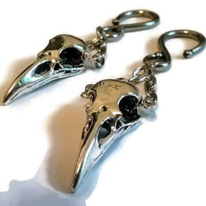 LAST PAIR Silver Pewter Raven Skull Ear Weights